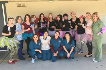 Dental assisting students in dental costumes